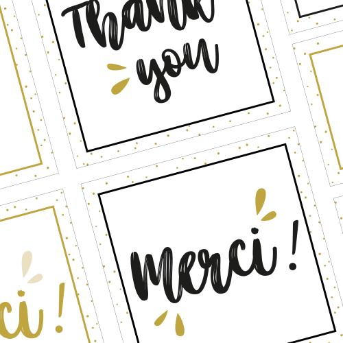 Cartes & étiquettes de remerciement