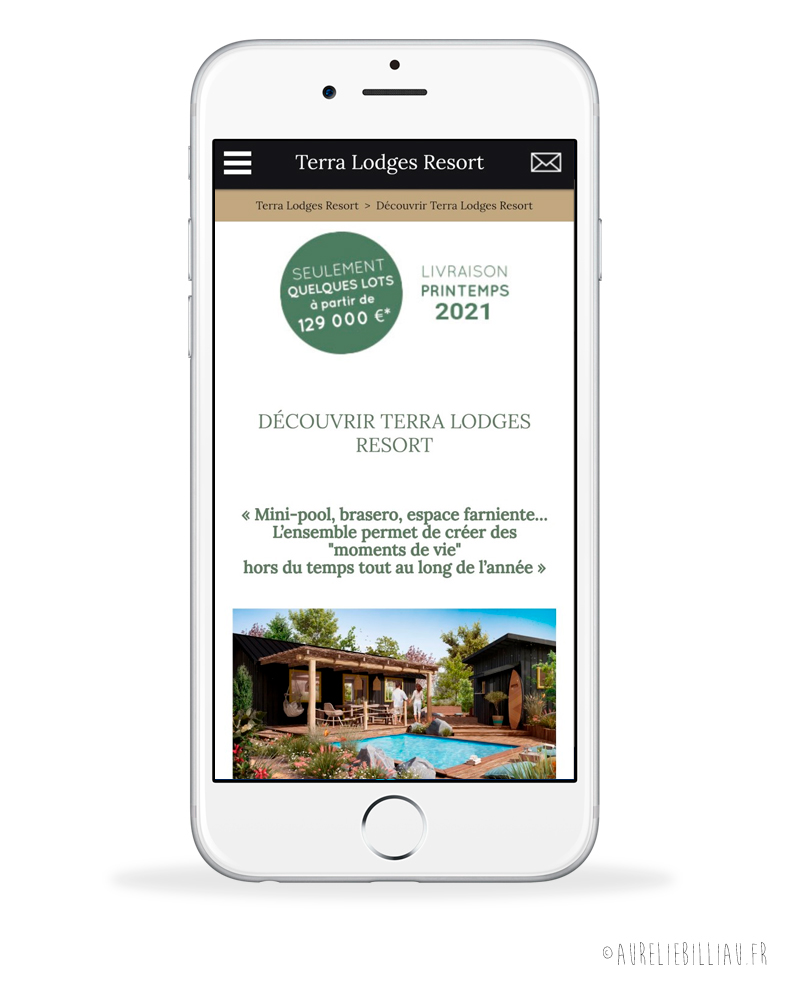 Site internet Terra Lodges Resort